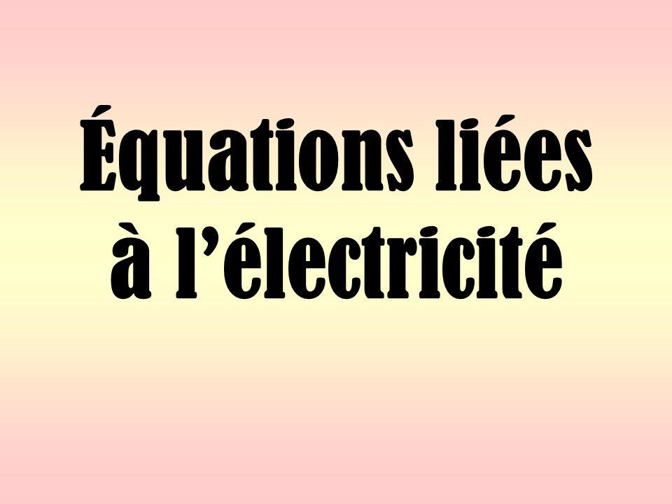 Équations liées à lélectricité