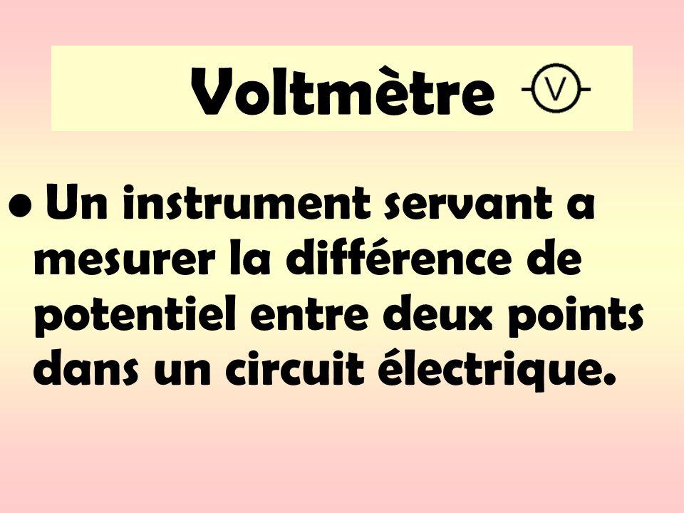 Le voltmètre est toujours branché en parallèle