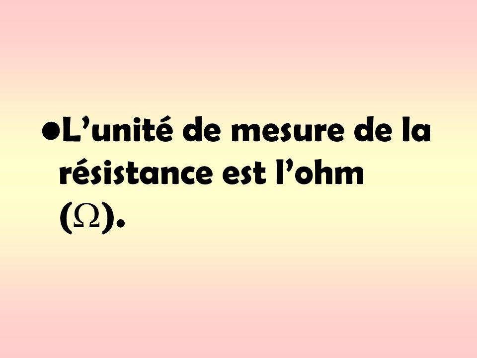 Lunité de mesure de la résistance est lohm ( ).