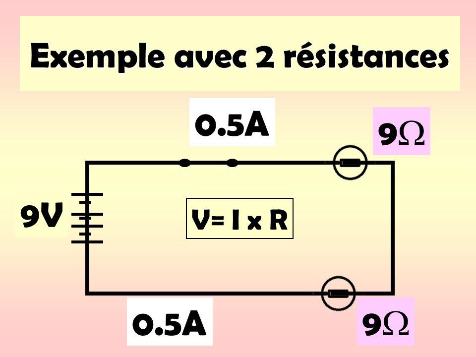 Exemple avec 2 résistances 9V 0.5A 9 V= I x R 9