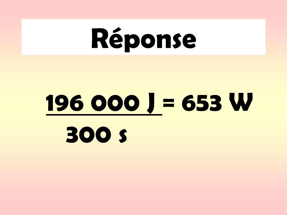 Exemple: Si un appareil nécessite 3440 Watt de puissance durant 50 secondes, quelle est lénergie nécessaire pour faire fonctionner lappareil ?