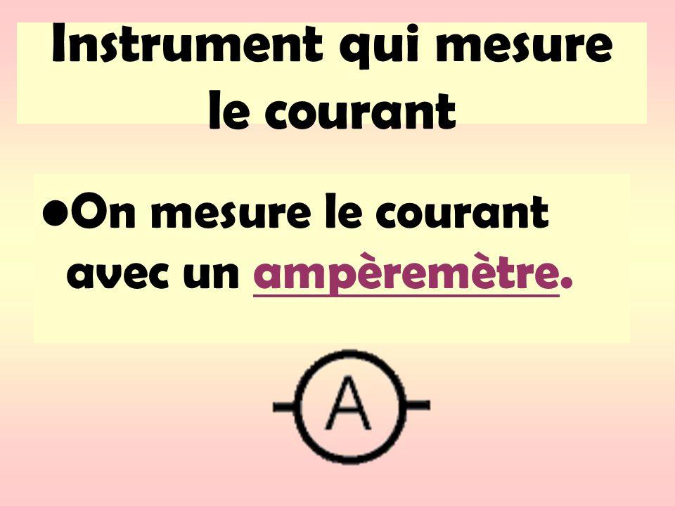 Instrument qui mesure le courant On mesure le courant avec un ampèremètre.