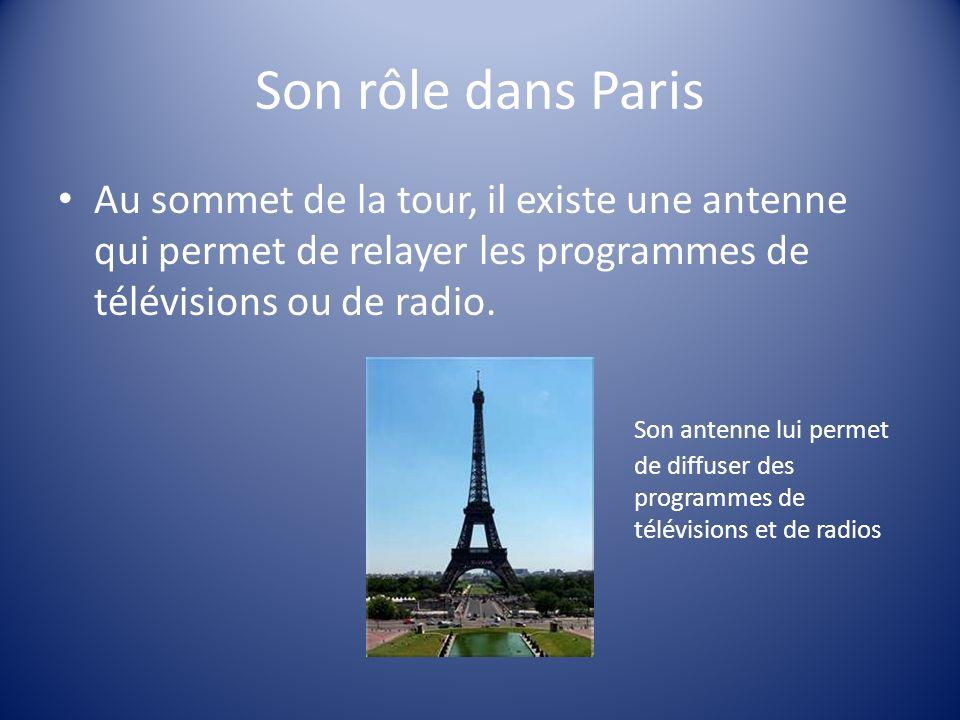 Son rôle dans Paris Au sommet de la tour, il existe une antenne qui permet de relayer les programmes de télévisions ou de radio. Son antenne lui perme