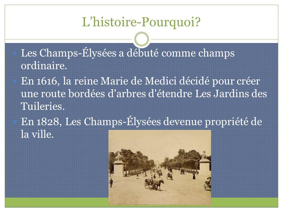 Lhistoire-Pourquoi? Les Champs-Élysées a débuté comme champs ordinaire. En 1616, la reine Marie de Medici décidé pour créer une route bordées d'arbres