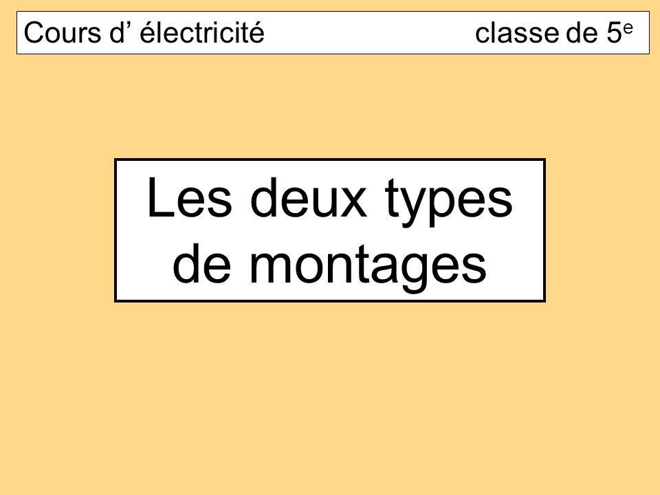 Les deux types de montages Cours d électricité classe de 5 e