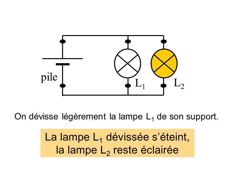 pile L1L1 L2L2 On dévisse légèrement la lampe L 1 de son support.