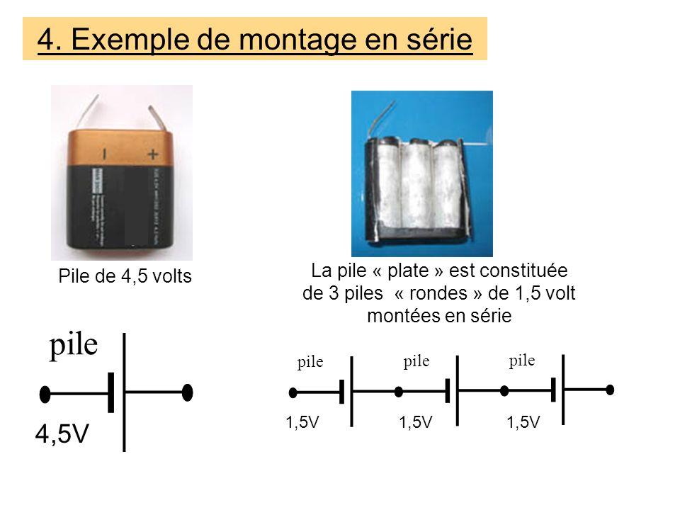 La pile « plate » est constituée de 3 piles « rondes » de 1,5 volt montées en série Pile de 4,5 volts 4.