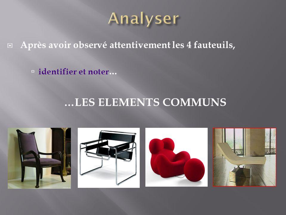 Après avoir observé attentivement les 4 fauteuils, identifier et noter… …LES ELEMENTS COMMUNS