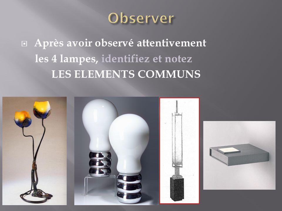 Après avoir observé attentivement les 4 lampes, identifiez et notez LES ELEMENTS COMMUNS