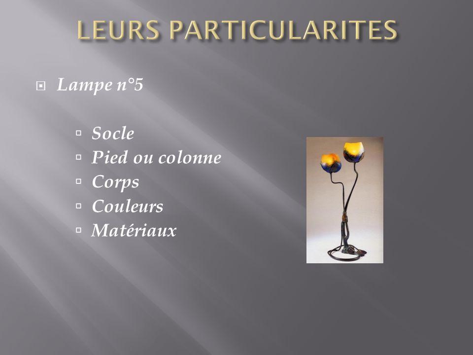 Lampe n°5 Socle Pied ou colonne Corps Couleurs Matériaux