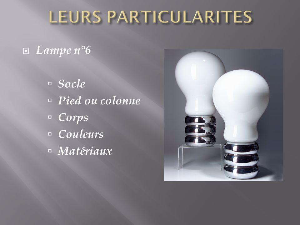 Lampe n°6 Socle Pied ou colonne Corps Couleurs Matériaux
