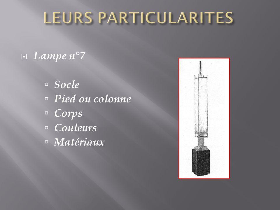Lampe n°7 Socle Pied ou colonne Corps Couleurs Matériaux