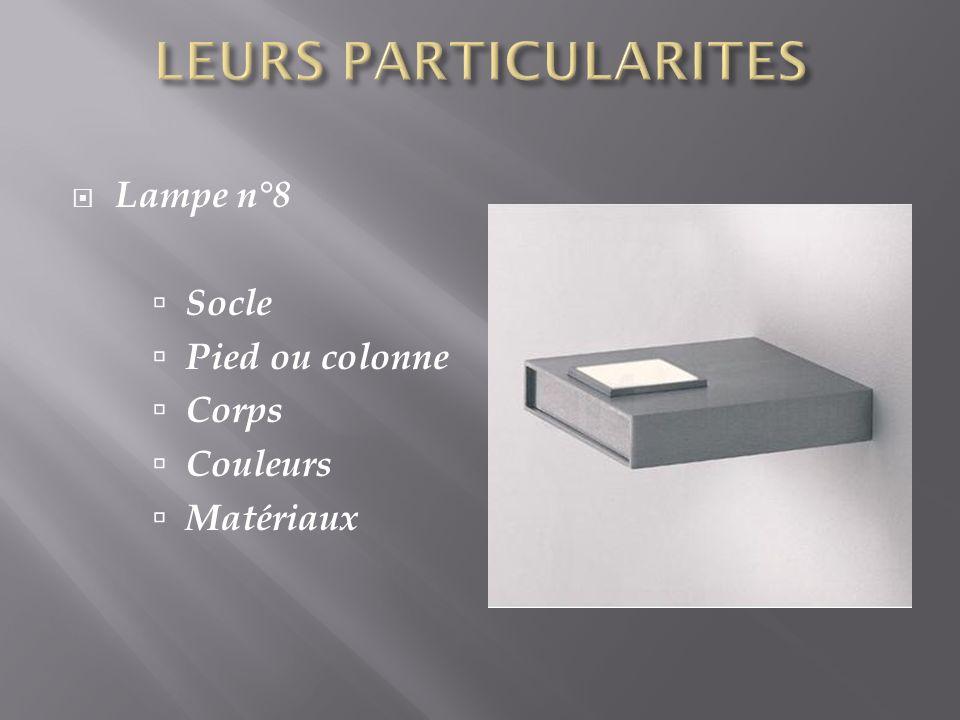 Lampe n°8 Socle Pied ou colonne Corps Couleurs Matériaux