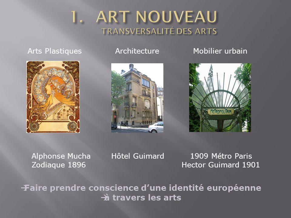 Arts Plastiques Architecture Mobilier urbain Alphonse Mucha Hôtel Guimard 1909 Métro Paris Zodiaque 1896 Hector Guimard 1901 Faire prendre conscience dune identité européenne à travers les arts