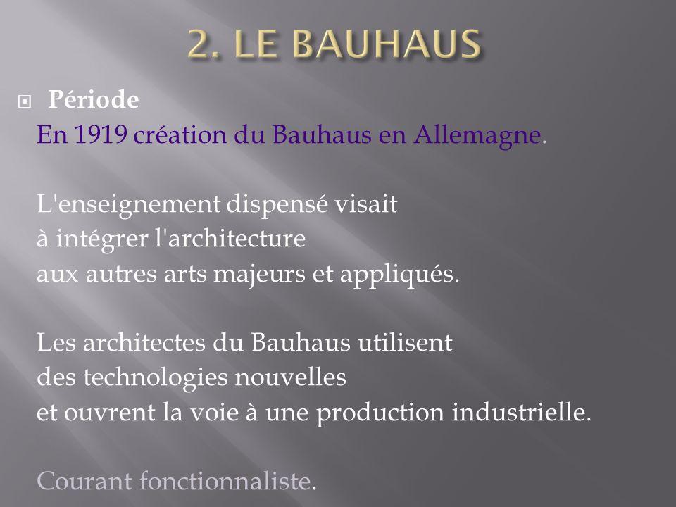 Période En 1919 création du Bauhaus en Allemagne.