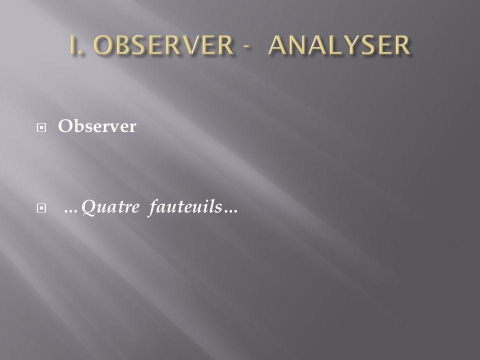 Observer …Quatre fauteuils…