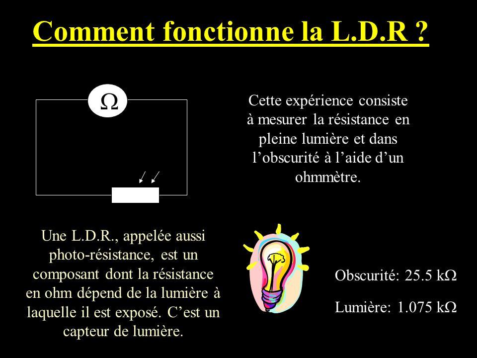 Comment fonctionne la L.D.R ? Cette expérience consiste à mesurer la résistance en pleine lumière et dans lobscurité à laide dun ohmmètre. Lumière: 1.