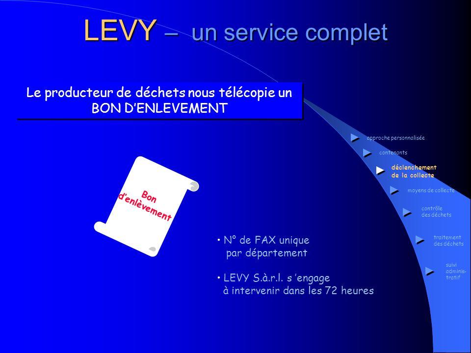 LEVY – un service complet Les moyens de collecte des DIB et DIS approche personnalisée contenants déclenchement de la collecte moyens de collecte contrôle des déchets traitement des déchets suivi adminis- tratif