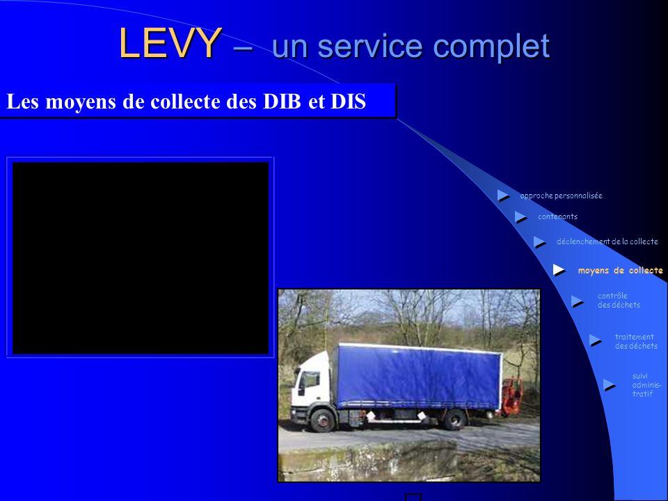 LEVY – un service complet Les moyens de collecte des DIB et DIS approche personnalisée contenants déclenchement de la collecte moyens de collecte cont