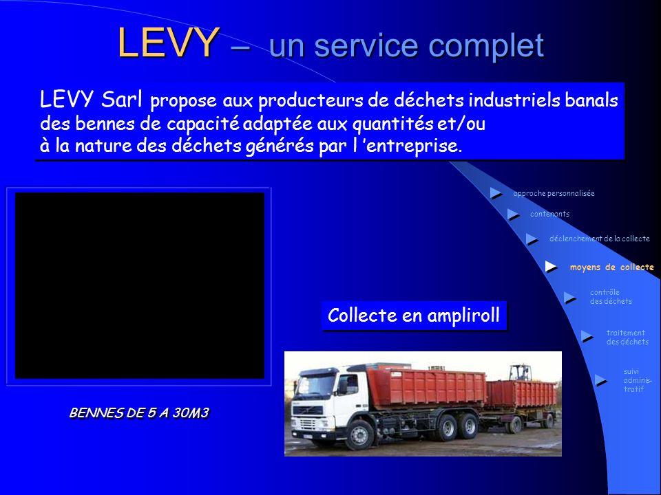 Collecte en ampliroll LEVY – un service complet LEVY Sarl propose aux producteurs de déchets industriels banals des bennes de capacité adaptée aux qua