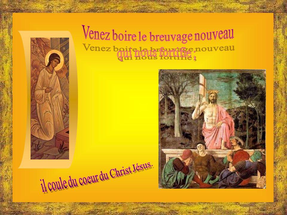 Le Christ-Dieu nous a fait passer de la mort à la vie, de la terre au ciel. Chantons un cantique de louange.