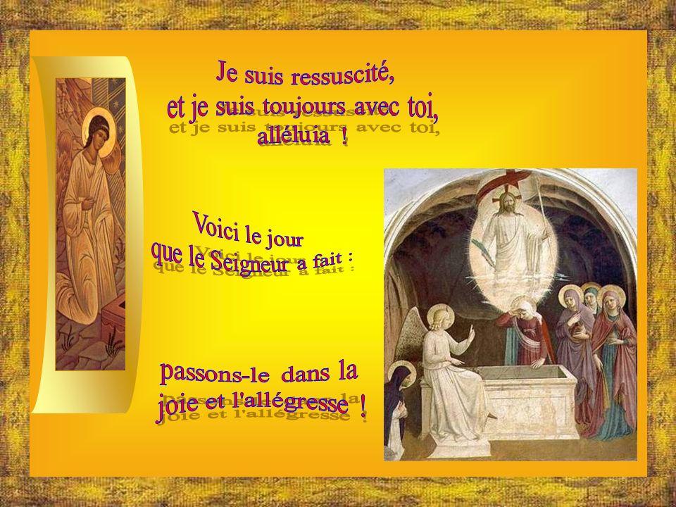 Réjouis-toi, tressaille dallégresse, Marie, divine Porte de la Lumière : Jésus, qui sétait couché au tombeau, sen est levé plus brillant que le soleil pour illuminer tous les croyants : réjouis-toi, ô Dame, pleine de grâce divine .