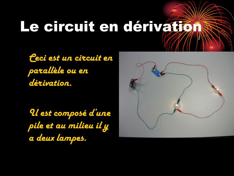 Le circuit en dérivation Ceci est un circuit en parallèle ou en dérivation. Il est composé dune pile et au milieu il y a deux lampes.