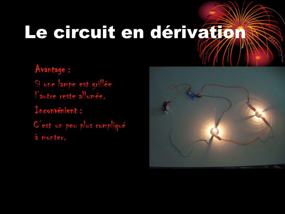 Le circuit en dérivation Avantage : Si une lampe est grillée lautre reste allumée. Inconvénient : Cest un peu plus compliqué à monter.