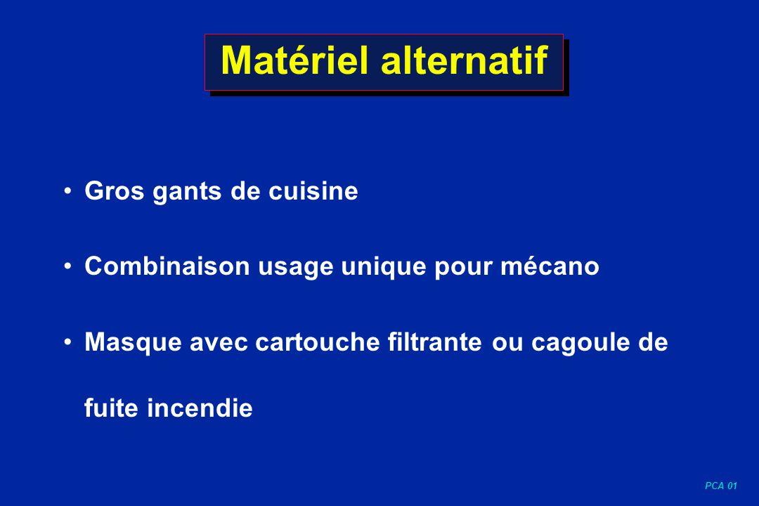 PCA 01 Matériel alternatif Gros gants de cuisine Combinaison usage unique pour mécano Masque avec cartouche filtrante ou cagoule de fuite incendie