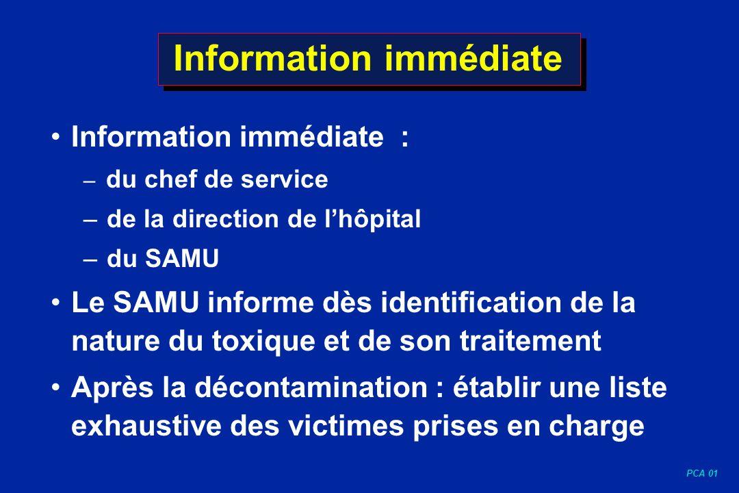 PCA 01 Information immédiate Information immédiate : – du chef de service – de la direction de lhôpital – du SAMU Le SAMU informe dès identification d