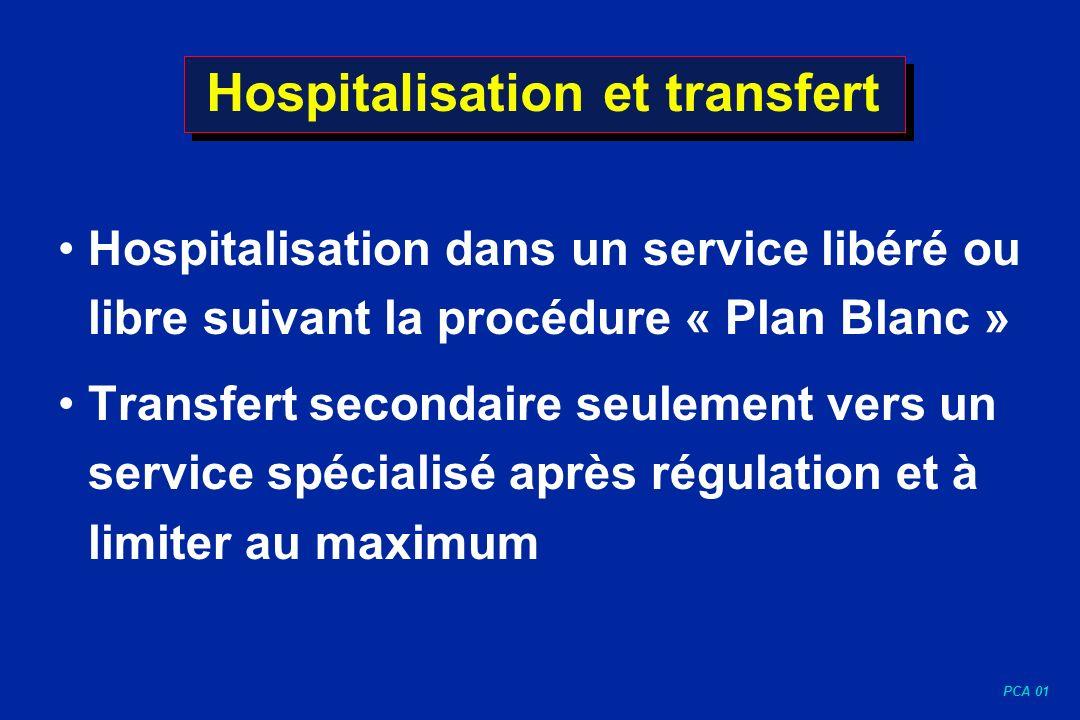 PCA 01 Hospitalisation et transfert Hospitalisation dans un service libéré ou libre suivant la procédure « Plan Blanc » Transfert secondaire seulement