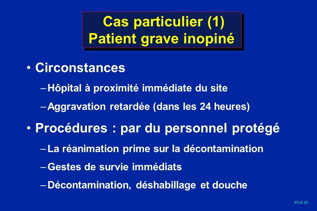 PCA 01 Cas particulier (1) Patient grave inopiné Circonstances –Hôpital à proximité immédiate du site –Aggravation retardée (dans les 24 heures) Procé