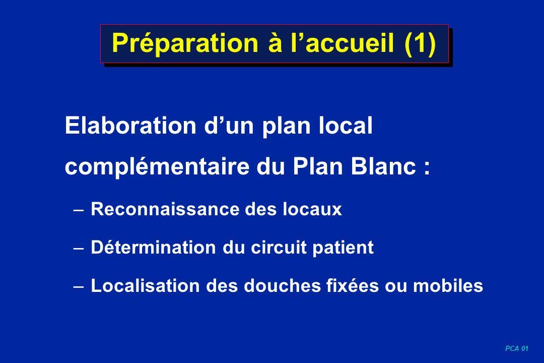 PCA 01 Préparation à laccueil (1) Elaboration dun plan local complémentaire du Plan Blanc : – Reconnaissance des locaux – Détermination du circuit pat