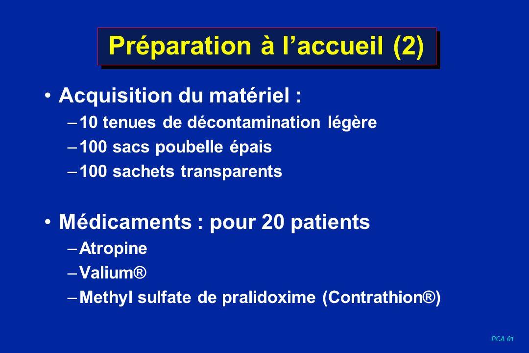 PCA 01 Préparation à laccueil (2) Acquisition du matériel : –10 tenues de décontamination légère –100 sacs poubelle épais –100 sachets transparents Mé