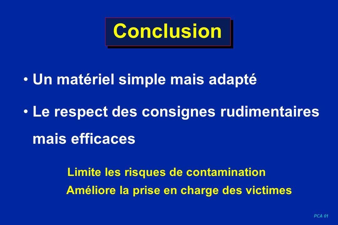 PCA 01 Conclusion Un matériel simple mais adapté Le respect des consignes rudimentaires mais efficaces Limite les risques de contamination Améliore la