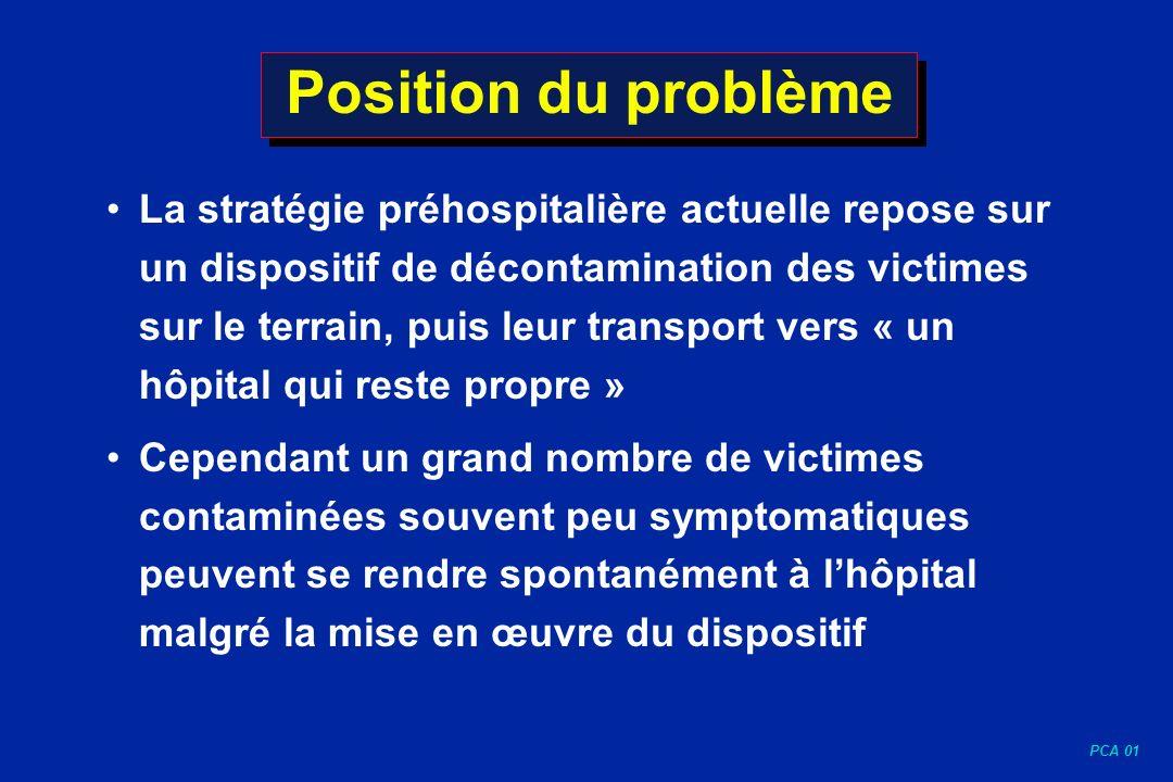 PCA 01 Position du problème La stratégie préhospitalière actuelle repose sur un dispositif de décontamination des victimes sur le terrain, puis leur t