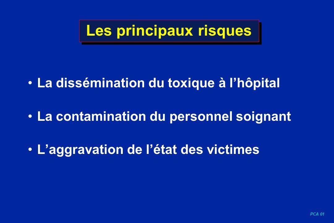 PCA 01 Les principaux risques La dissémination du toxique à lhôpital La contamination du personnel soignant Laggravation de létat des victimes