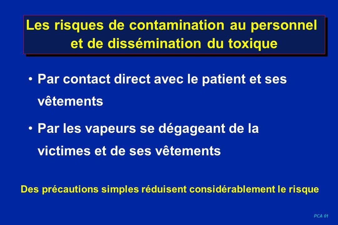 PCA 01 Les risques de contamination au personnel et de dissémination du toxique Par contact direct avec le patient et ses vêtements Par les vapeurs se