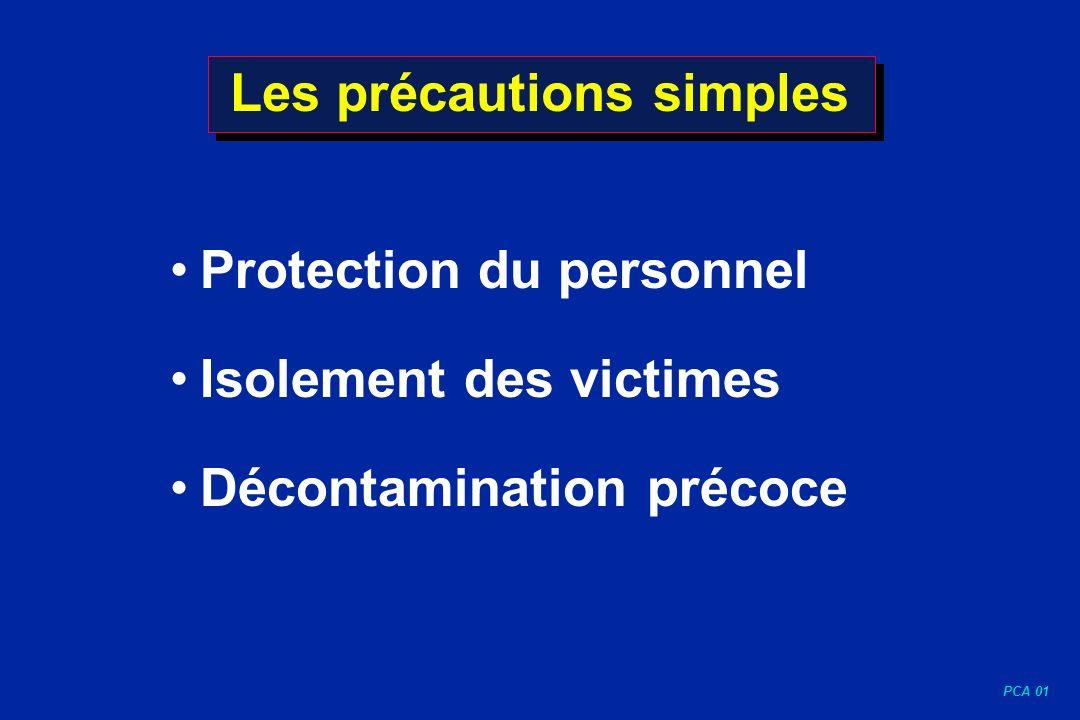 PCA 01 Les précautions simples Protection du personnel Isolement des victimes Décontamination précoce