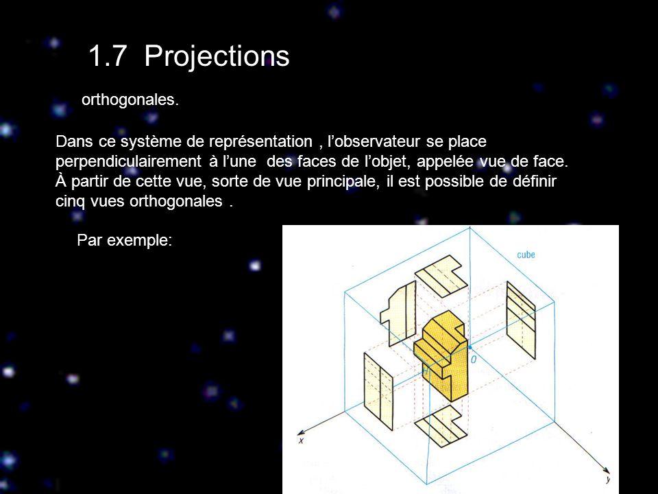 1.7 Projections Dans ce système de représentation, lobservateur se place perpendiculairement à lune des faces de lobjet, appelée vue de face. À partir