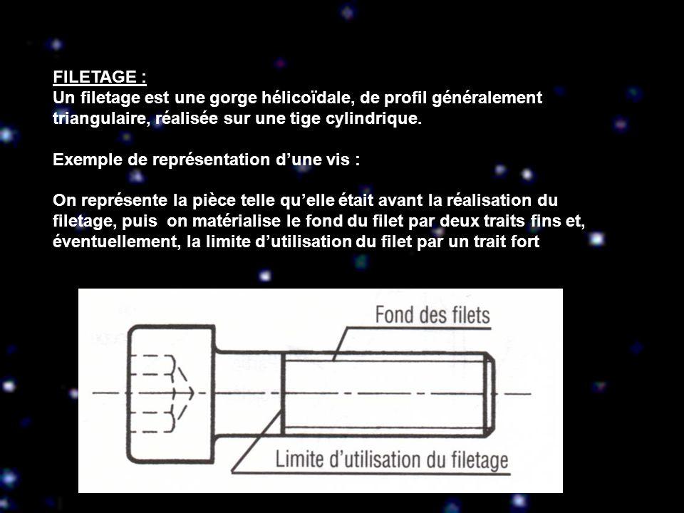 FILETAGE : Un filetage est une gorge hélicoïdale, de profil généralement triangulaire, réalisée sur une tige cylindrique. Exemple de représentation du