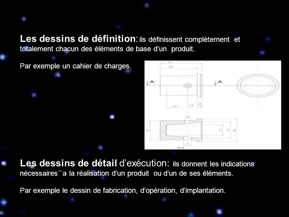 Les dessins de définition: ils définissent complètement et totalement chacun des éléments de base dun produit. Par exemple un cahier de charges. Les d