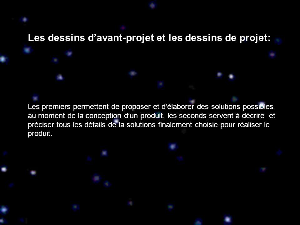 Les dessins davant-projet et les dessins de projet: Les premiers permettent de proposer et délaborer des solutions possibles au moment de la conceptio