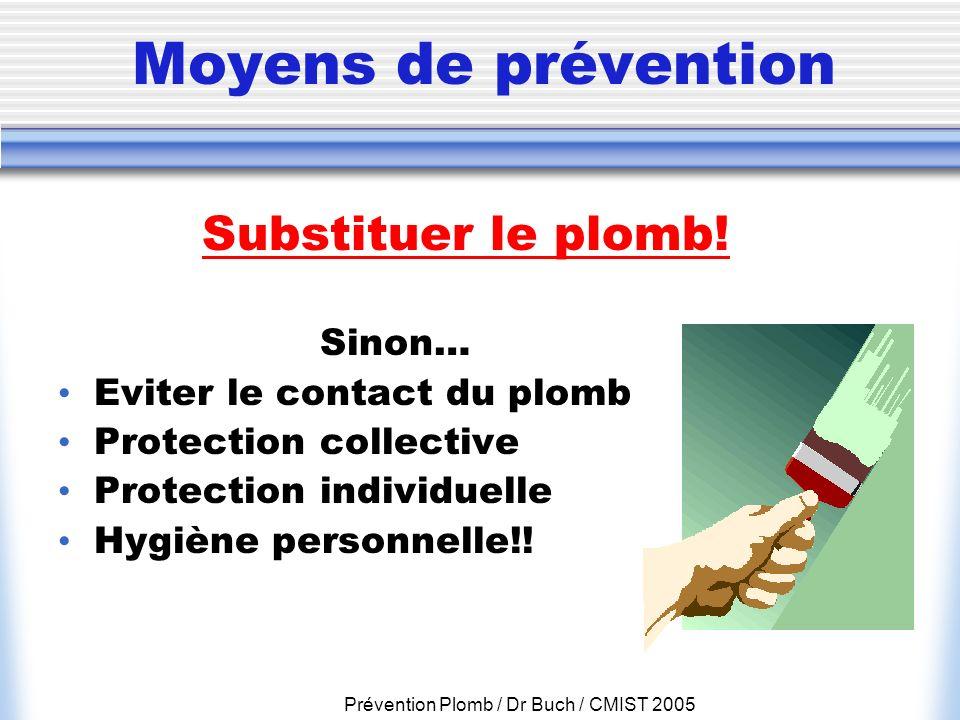 Prévention Plomb / Dr Buch / CMIST 2005 Moyens de prévention Sinon… Eviter le contact du plomb Protection collective Protection individuelle Hygiène p