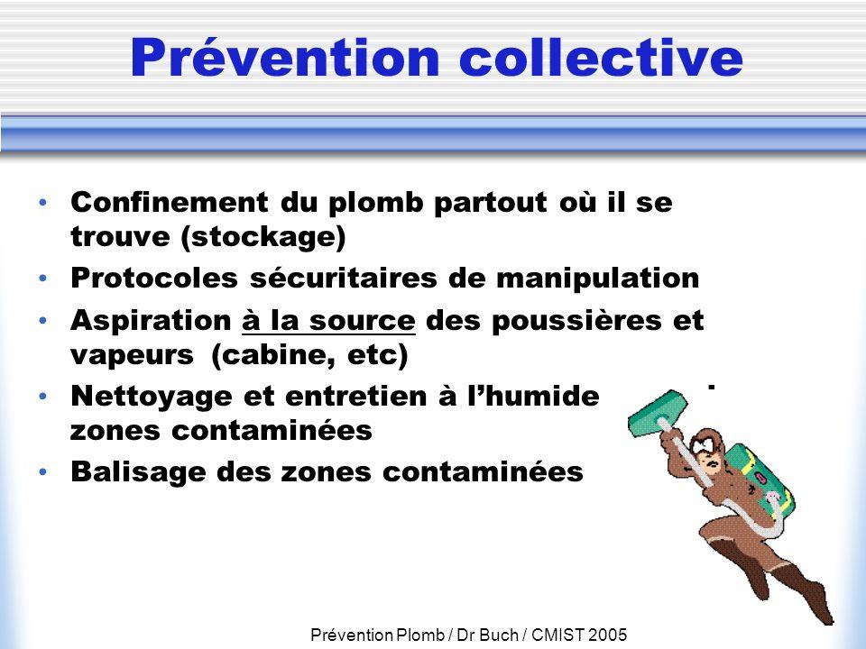 Prévention Plomb / Dr Buch / CMIST 2005 Prévention collective Confinement du plomb partout où il se trouve (stockage) Protocoles sécuritaires de manip