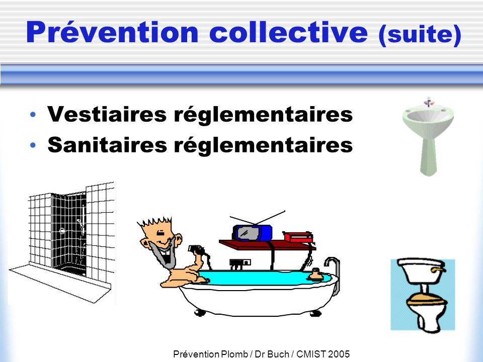 Prévention Plomb / Dr Buch / CMIST 2005 Prévention collective (suite) Vestiaires réglementaires Sanitaires réglementaires