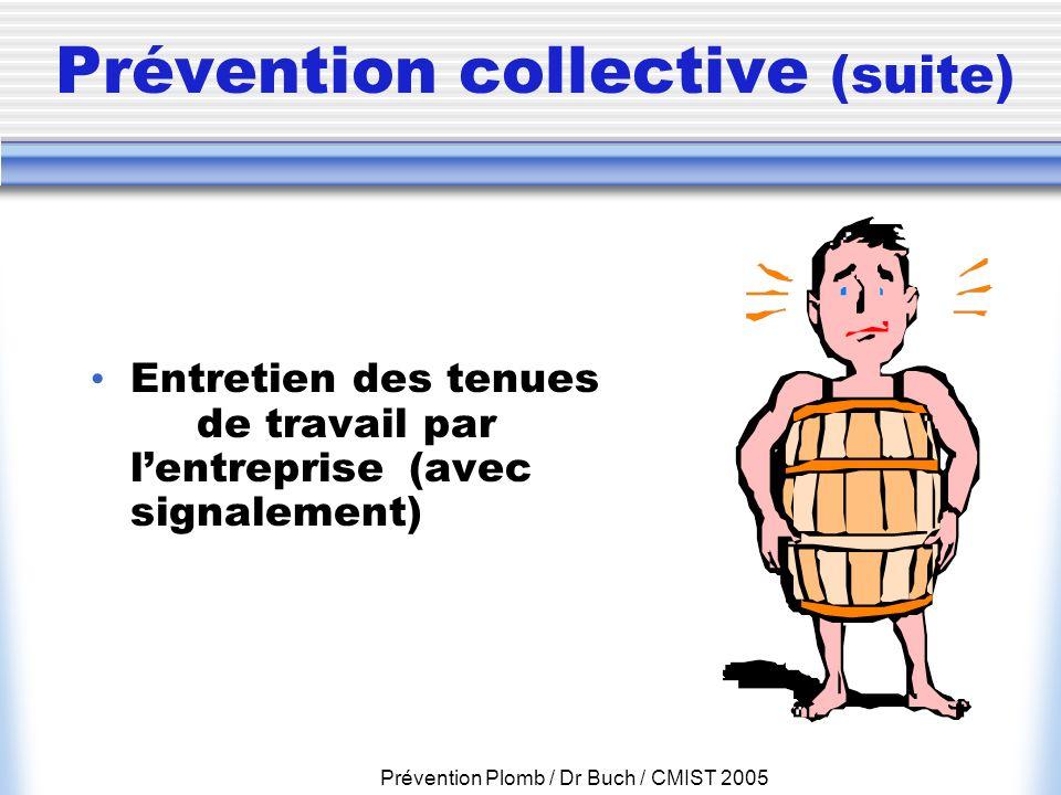 Prévention Plomb / Dr Buch / CMIST 2005 Prévention collective (suite) Entretien des tenues de travail par lentreprise (avec signalement)