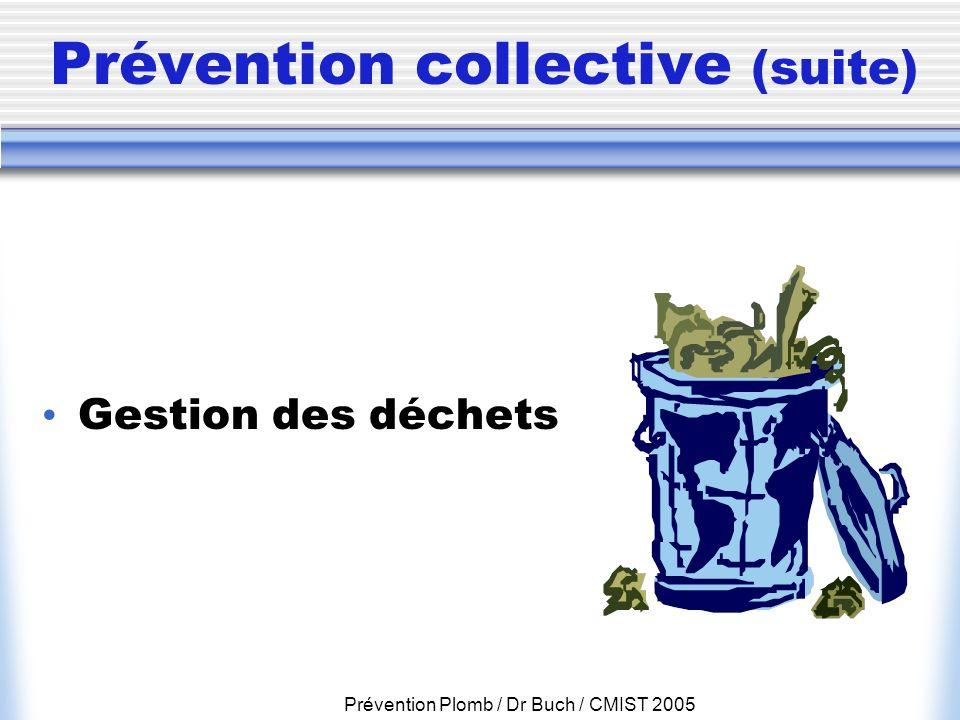 Prévention Plomb / Dr Buch / CMIST 2005 Prévention collective (suite) Gestion des déchets
