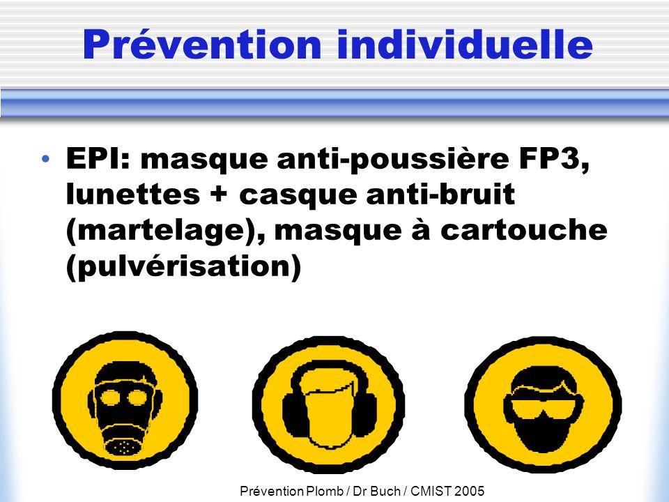 Prévention Plomb / Dr Buch / CMIST 2005 Prévention individuelle EPI: masque anti-poussière FP3, lunettes + casque anti-bruit (martelage), masque à car