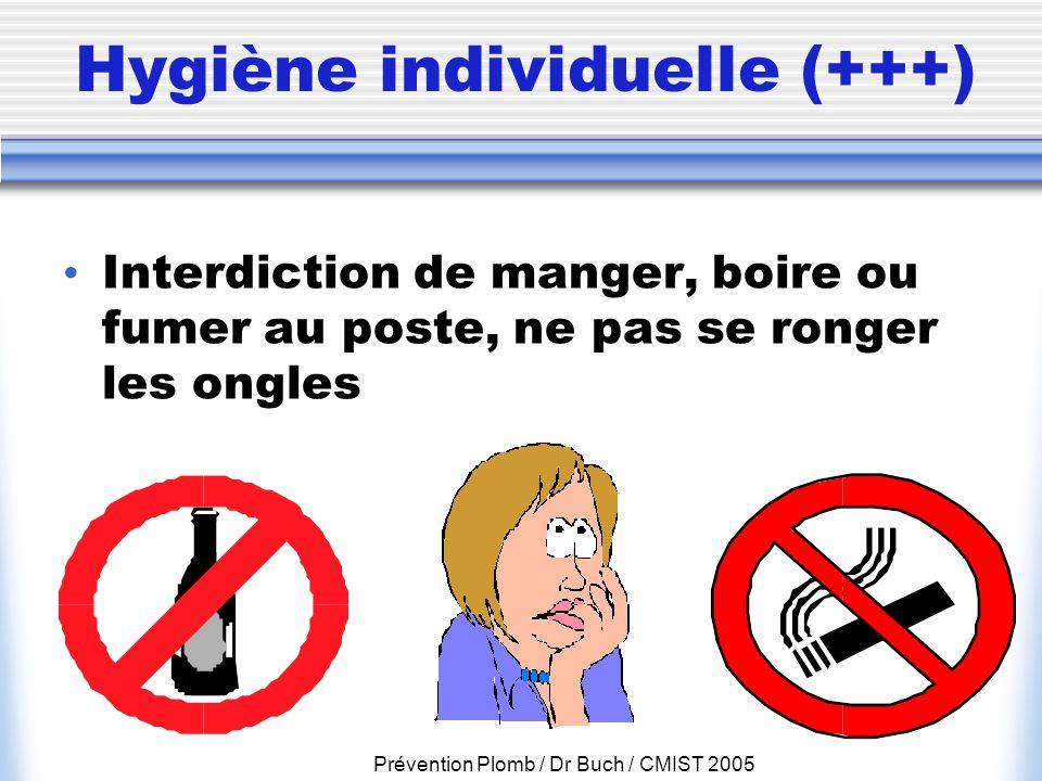 Prévention Plomb / Dr Buch / CMIST 2005 Hygiène individuelle (+++) Interdiction de manger, boire ou fumer au poste, ne pas se ronger les ongles